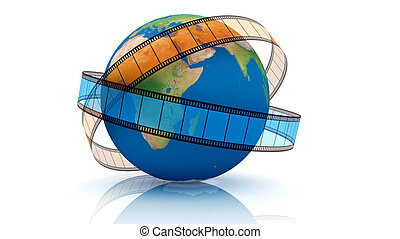 World Of Video - 3D rendered. Isolated on white. World Of...