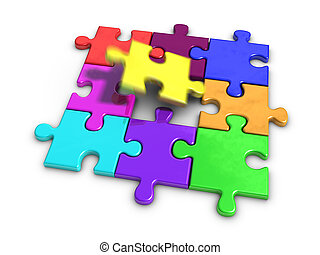 Jigsaw Puzzle - 3d rendered Jigsaw Puzzle
