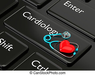 3d rendered keyboard with heart and stethoscope