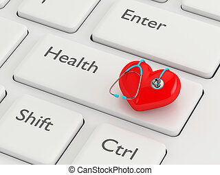 3d rendered keyboard with heart and stethoscope. Healthy ...