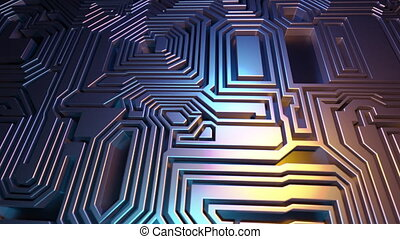 3D Rendered looping abstract background animation. Flying over panel of microchips. Labyrinth. Yellow and blue graded colors
