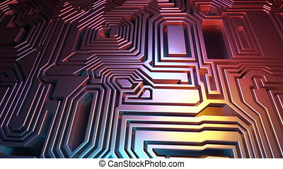 3D Rendered looping abstract background animation. Flying over panel of microchips. Labyrinth. Red