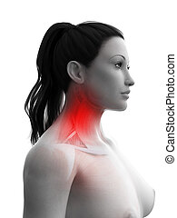 a woman having a painful neck