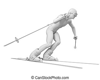 skier - 3d rendered medically accurate illustration of skier