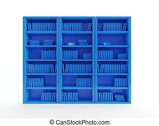 an abstract blue book shelf - 3d rendered object ...