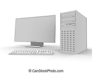 3D rendered PC Setup. Isolated on white.