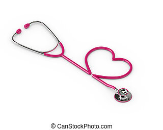 3d rendered pink stethoscope with heart isolated over white