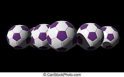 3D rendered purple soccer balls on black background