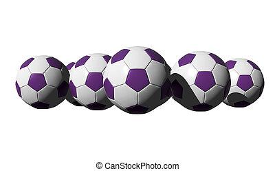3D rendered purple soccer balls on white background