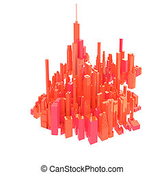 3d rendered red skyline isolated on white background