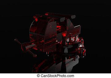 3D rendered Red Transparent Bench Vise