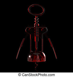 3D rendered Red transparent Corkscrew