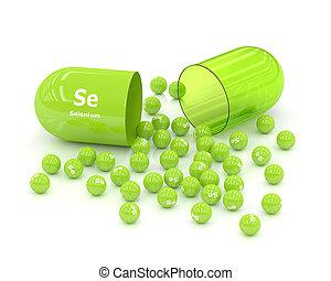 3d rendered selenium Se pill over white background
