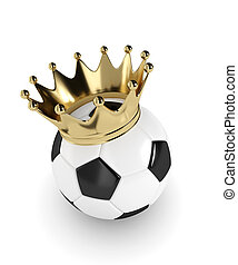 3d rendered soccer ball with a golden crown isolated over white