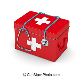 3d rendered stethoscope with first aid kit isolated over white