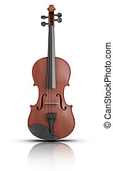 Violin - 3D rendered Violin on reflective surface.