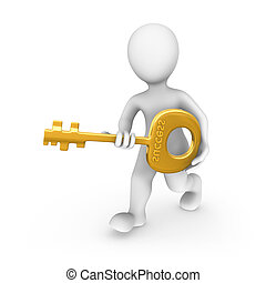3d rendered white human with a gold key. 3d rendered illustration.