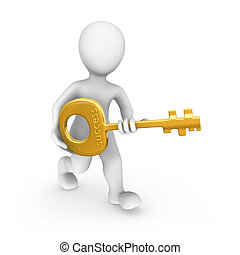 3d rendered white human with a gold key.