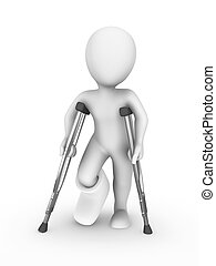 3d rendered white human with crutches