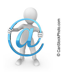 3d rendered white human with email symbol.