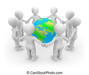 3d rendered white people with Earth.