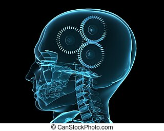 head with gears - 3d rendered x-ray illustration of human...