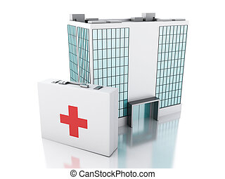 3d renderer. Hospital building and first aid kit - 3d...