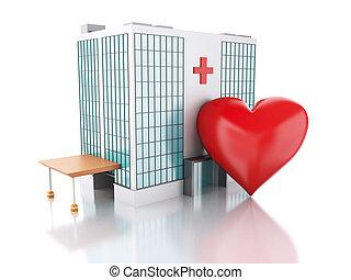 3d renderer. Hospital building and red heart - 3d renderer...