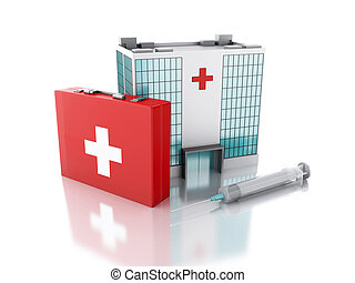 3d renderer. Hospital building, syringe and first aid kit