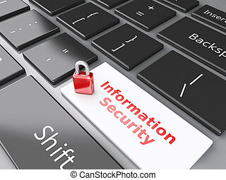 closed Padlock and Information Security on computer keyboard...