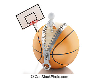 3d white people playing on top of basketball ball