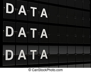 Aiport board with data word. Archive concept.
