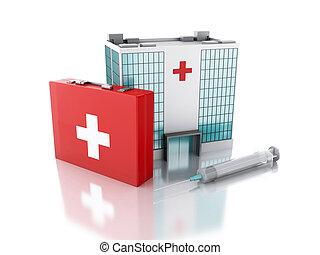 3d, renderer., klinikum, gebäude, spritze, und, erste-hilfe-ausrüstung