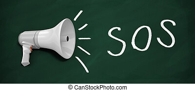 SOS - 3d renderer megaphone. SOS written on blackboard with...