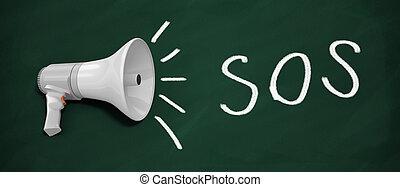 SOS - 3d renderer megaphone. SOS written on blackboard with...