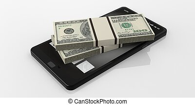 3d rendering 100 dollar banknotes stack on a smartphone