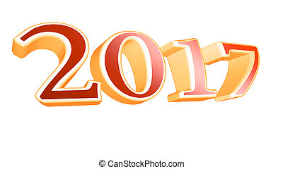 3D rendering 2017 new year eve illustration on white background