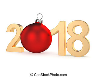 3D rendering 2018 New Year gold digits