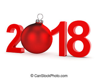 3D rendering 2018 New Year red digits