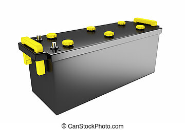 3D rendering. 24v battery for truck. Commercial vehicle accumulator