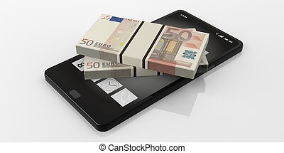 3d rendering 50 euro banknotes stacks on a smartphone