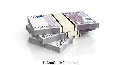 3d rendering 500 euro banknotes stacks