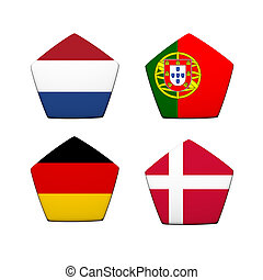 3d rendering a part of soccer ball with flag pattern, European Soccer Championship Group B