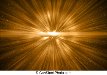 3D rendering, abstract cosmic explosion shockwave warm gold energy on black background, texture effect