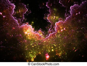 3D rendering abstract fractal clouds in pink and green on ...