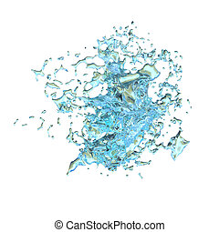 3D Rendering Abstract Splash of Water on White