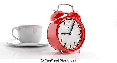 3d rendering alarm clock and a cup of coffee on white background