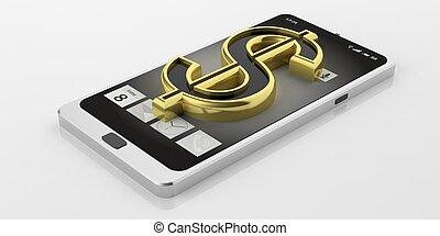 3d rendering american dollar symbol on a smart phone