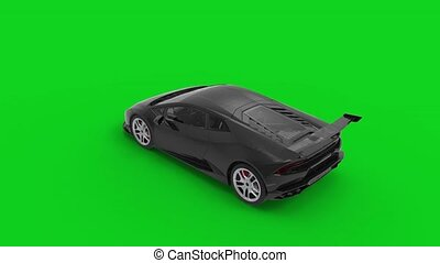 3d rendering animation of a brandless supercar on chroma key green screen