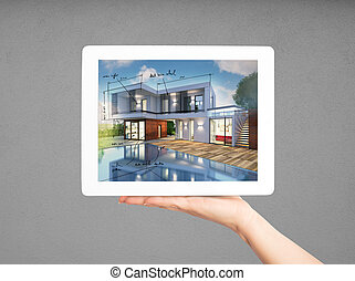 3D Rendering Architect showing new house project with tablet
